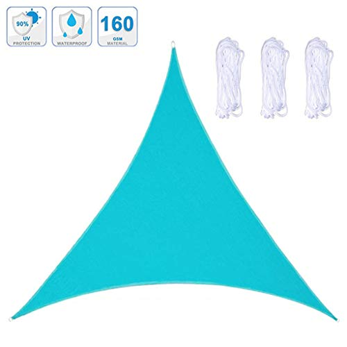 Zonnescherm Sail, Triangle Ademende Oxford Stof Sunscreen Luifel UV Block Met Rope Voor Garden Patio, Lake Blue, 3 * 3 * 3M