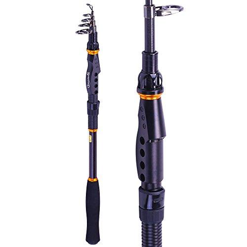 Sougayilang Fishing Rod - 24 Ton Carbon Fiber, Portable Telescopic Super Hard Ultralight Fishing Pole for Travel Surf Saltwater Freshwater Bass Boat Fishing