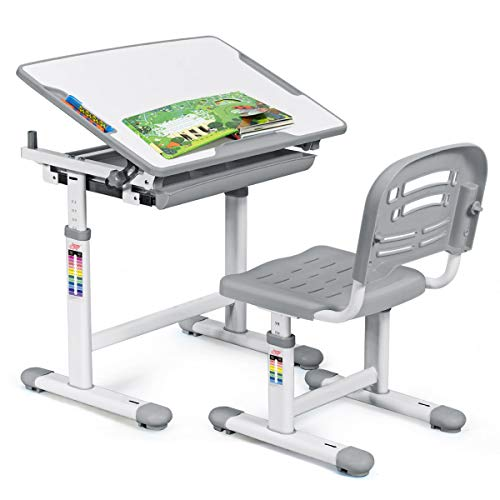 COSTWAY Kinderschreibtisch höhenverstellbar, Schülerschreibtisch Kindermöbel neigungsverstellbar, Kindertisch mit Stuhl, Schreibtisch Kinder, Farbewahl (Grau)