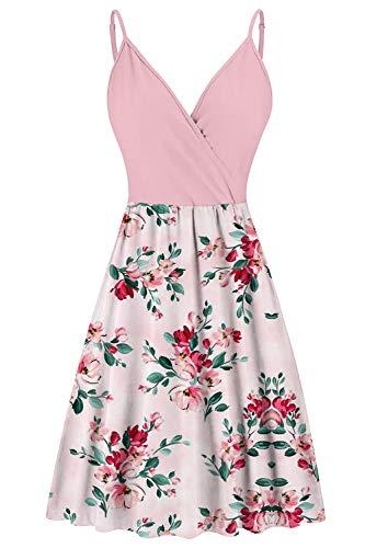 Lindanina - Vestido de playa sin mangas con cuello en V y correas ajustables para espagueti, bohemio, floral, acampanado, vestido de playa con bolsillos S-XL