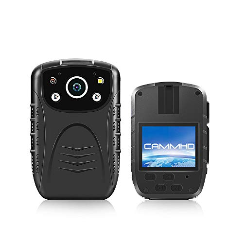 Body Worn Camera with Audio,1296P CAMMHD Police Body Cameras for Security Guard,Waterproof Body Mounted Camera IR with Night Vision,2.0 Inch Display,140° Wide Angle(Built-in 32GB)