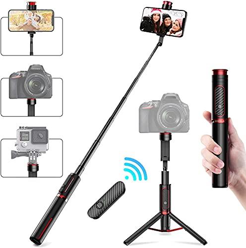CAFELE Bluetooth Selfie Stick Stativ mit wiederaufladbarer Fernbedienung, Aluminium Selfie Stick Ständer für Smartphone All-in-One, Samsung, Huawei, Android, GoPro Kamera