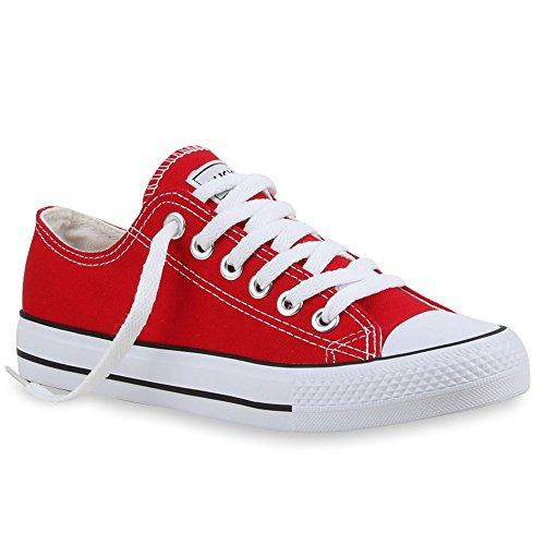 stiefelparadies Damen Schuhe Sneakers Sportschuhe Schnürer Schuhe 24759 Rot Ambler 37 Flandell