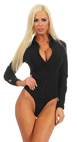 Fashion4Young 5985 Damen Bodybluse Tailliert Langarm Bluse Damenbluse Bodybluse Hemdbluse (schwarz, XL-42)