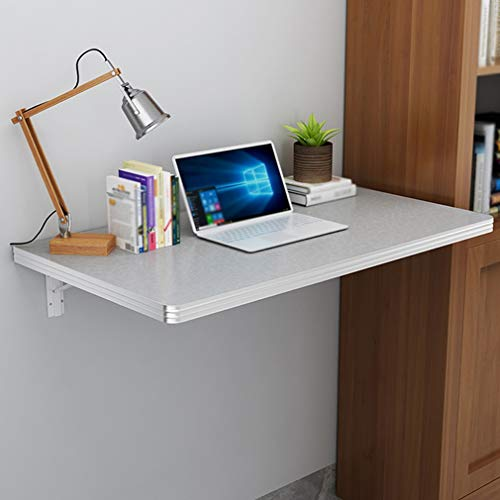 ZDDY Fold Down Table Wall Mounted Workbench, Space Saving Folding Kitchen Dining Table Drop-Leaf Computer Desk Workstation, Floating Hanging Table for Home Office/Laundry Room/Bar.