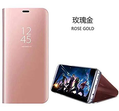 hyujia Compatible para Xiaomi Redmi S2/Y2 Carcasa 2018/Funda Inteligente Fecha/Hora Ver Espejo tirón del Caso Soporte Plegable/Duro Shell Teléfono Case Cover para Xiaomi Redmi S2 Oro Rosa