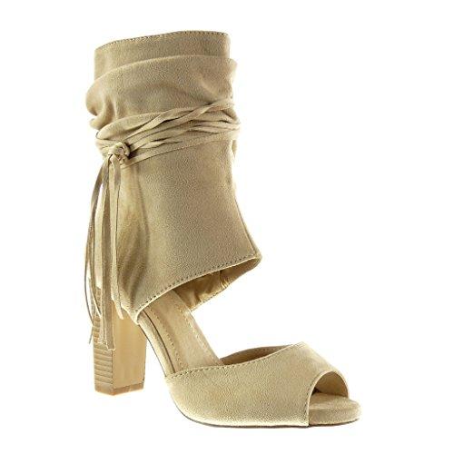 Angkorly - Damen Schuhe Stiefeletten Sandalen - Peep-Toe - Offen - Sexy - String Tanga - Fransen Blockabsatz high Heel 9 cm - Beige AF-710 T 36