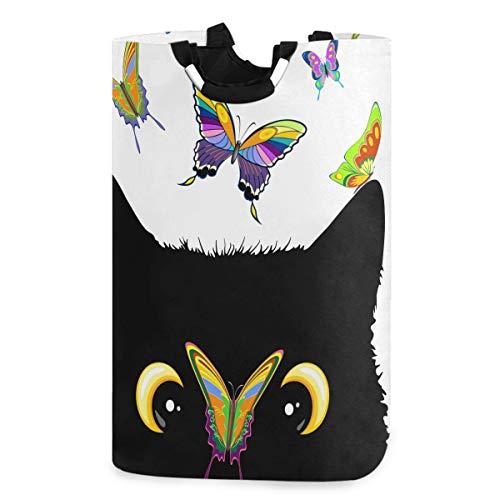 CaTaKu - Cesta para la colada, diseño de gato, mariposa, abeja y mariposa, resistente al agua, fácil de transportar para el dormitorio familiar, habitación de lavandería, 12.6 x 11 x 22.7 pulgadas