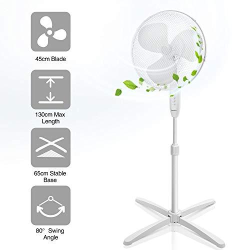 Aigostar Daisy 33JTP - Ventilatore a piantana, Pala 45cm, Potenza da 40W e regolazione da 3 velocità, lunghezza cavo da 1,8M. Griglie di Protezione per i Bambini e supporto regolabile.