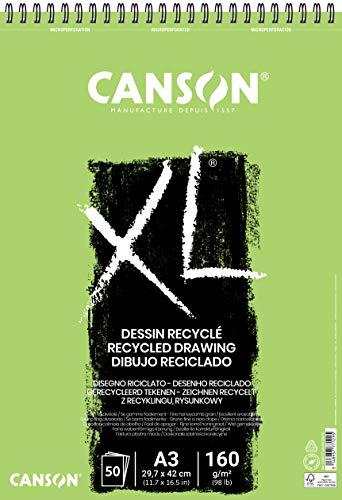 Canson 200777129 XL Recyclé Blocks, leicht gekörnt, 160 g/m², 50 Blatt pro Block