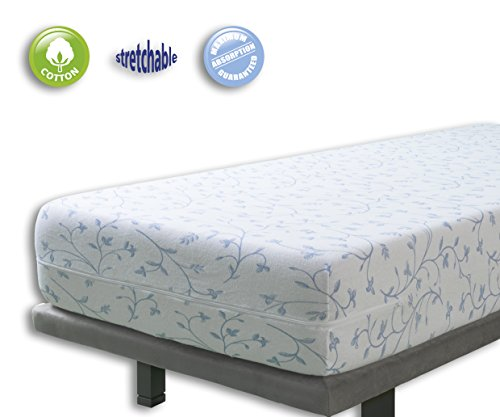 Velfont, Fully Enclosed Mattress Cover, BALI Elastic Terry Cotton Floral Patterned, Blue, Single Bed Protector (90x190/200cm)