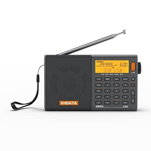 XHDATA D-808 FM/AM/SW/LW AIR SSB DSP RDS 高感度受信ポータブルラジオ オートオフ機能付き内蔵充電池電池...