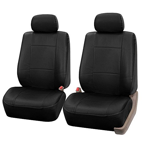 FH Group PU001102 PU Leather Seat Covers (Black) Front Set – Universal Fit for Cars Trucks & SUVs