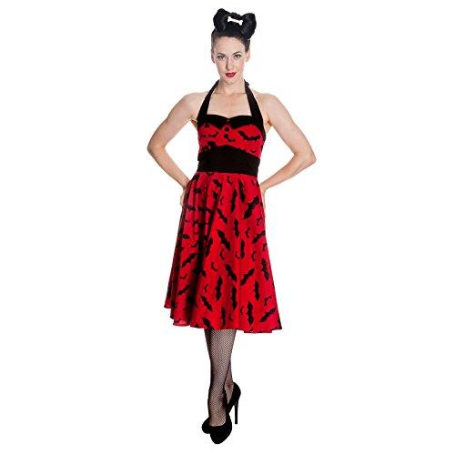 Rockabilly de Los Años 50 Vestido de Murciélago Infierno Bunny Halter Rojo Marca de balanceo Bienes - XS