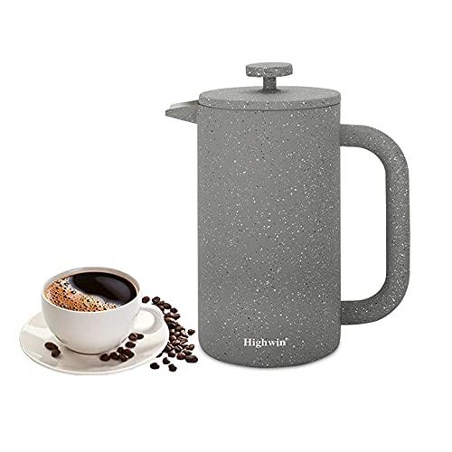 Highwin Französische Kaffeepresse, doppelwandig, isoliert, Edelstahl, langlebig, für 8 Tassen, mit Kolben aus Edelstahl (Graphitgrau)