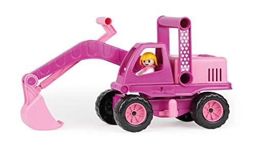 Lena 4102 Prinzessin von Hohenzollern Bagger, Baustellenfahrzeug ca. 35 cm, Schaufelbagger mit beweglichem Baggerarm und Spielfigur, Sandbagger für Mädchen ab 2 Jahre, Spielfahrzeug, Pink, Rosa