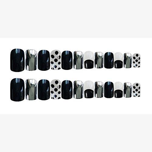 TJJL Faux ongles 24 Pcs/Boîte Noir Fumée Gris Cool Femmes Portable Couverture Complète Doigt Faux Nail Press Sur Onde Point Court Tête Carrée Nail Artificiel