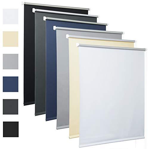 Laneetal Thermorollo mit Beschichtung Verdunklungsrollo in Weiß 110x160 cm Klemmrollo für Fenster & Tür Klemmfix ohne Bohren Fensterrollo Seitenzugrollo