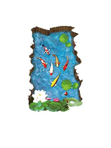 Demarkt 1 Pcs 3D stéréo Stickers muraux Eau Piscine Petits Poissons Simulation Autocollants décoratifs carrelage Autocollants Chambre Chambre Stickers muraux (coloré) 90 * 60cm