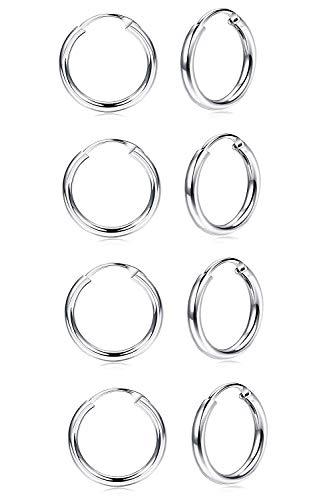 Finrezio 4 Paare 925 Sterling Silber Creolen für Frauen Männer Endlos Runde Unisex Helix Hoop Ohrringe Klein Set