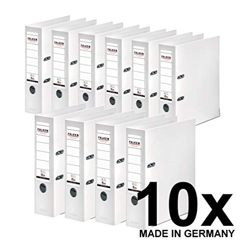 Original Falken 10er Pack Chromocolor Premium-Ordner. Made in Germany. Kunststoffbezug außen und innen 8 cm breit DIN A4 weiß Ringordner Aktenordner Briefordner Büroordner Plastikordner