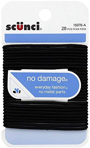 Scunci No Damage Hair Elastics, Medium, Black 28 ea (Pack of 2)