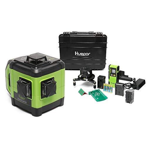 Huepar Livella Laser a Raggi Verdi Autolivellante Elettronico -3x360 Laser Linea di Allineamento a Tre Piani con Funzione a Doppia Pendenza, Base Metallica Adattabile & Ricevitore Incluso -DT03CG