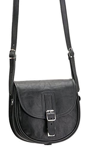 Damen Wallstreet Leder Satteltasche Handtasche Schwarz 1702 943 001 Bowatex