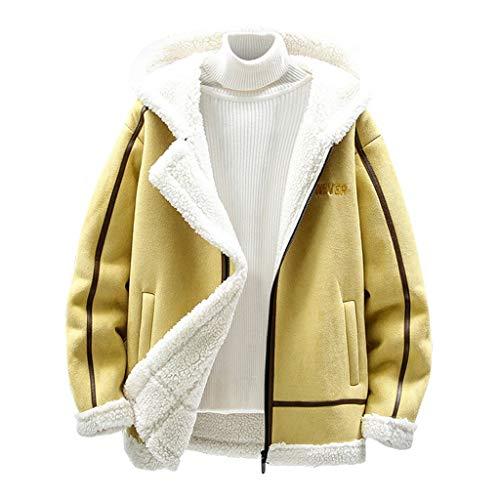 KPILP Herren Kapuzenpullover Plüsch Hoodie Sweatshirt Wintermantel Jacke Windbreaker Warm Outwear mit Taschen Fleece Sweatjacke Dicken