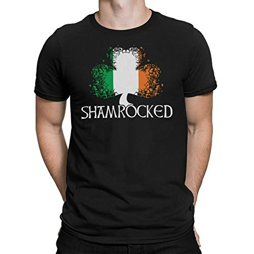 KAIYUAN Shamrocked Mens Organic T-Shirt St Patricks Day Irish Ireland Leprechaun Clover-Large,Mens Black tee Shirt