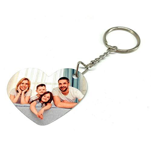 Saphirdesign Schlüsselanhänger aus Metal mit Wunsch-Motiv-Bild-Logo. Geeignet als Werbe-Erinnerungs-Geschenk. Das perfekte individuelle Fotogeschenk. (Herz beidseitig)