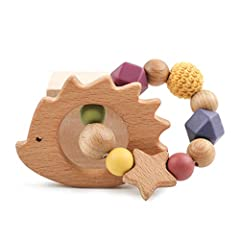 laten we houten egel siliconen baby bijten ring met veilige biologische olijfolie gecoate houten rammelaars Sensorische speelgoed douche cadeau *