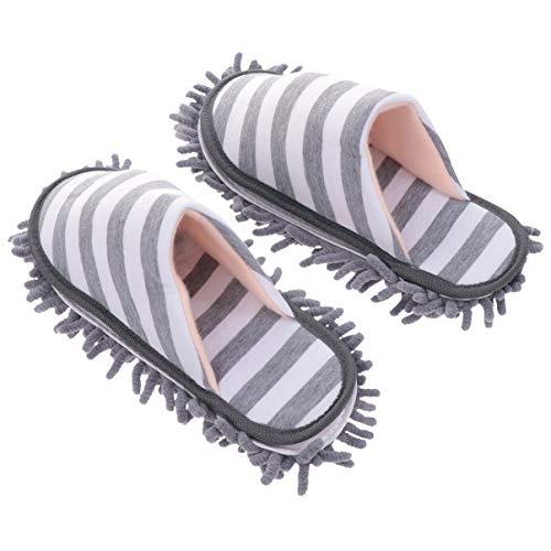 YARNOW Pantuflas Mop - Plumero lavable - Cubrezapatos - Limpiador para suelos de microfibra para baño, cocina y limpieza de la casa - Gris