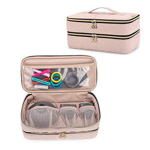 Teamoy Double-Layer Travel Organizer Bag Compatible with Dyson Supersonic Hair Dryer, Portable Travel Storage Bag for Hair Dryer and Attachments, Misty Rose(BAG ONLY)