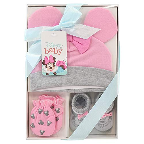 Disney Baby Girls Minnie Mouse 3 Piece Take Me Home Set : Hat, Bootie and Mittens (Newborn), Size Age 0-3M, Pink