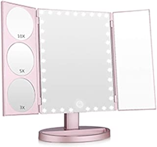 XZPENG Makeup Mirror,Touch Screen and 3X/5X/10X Magnifying Glass,360° Mirror Rotation,Desktop Mirror Suitable For Home Makeup or Travel (Color : White)
