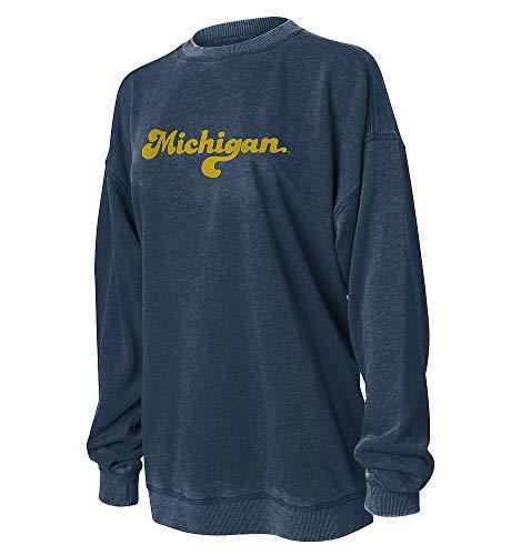 Elite Fan Shop Michigan Wolverines Women's Crewneck Sweatshirt - Large - Navy