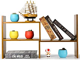 "Desk Organizer Shelf Wood 14.75""(W) x14.5""(H) x6.5""(D), Desktop Bookshelf, Desktop Organizer Bamboo Shelf"