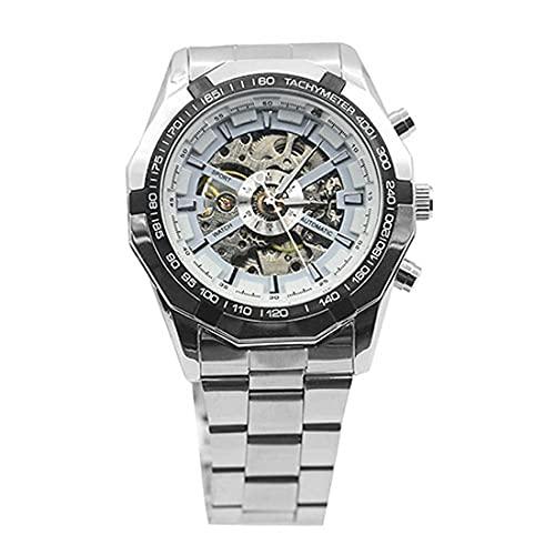 Reloj deportivo digital para hombre, a la moda, resistente al agua, con esqueleto automático, mecánico, analógico, de cuarzo, esfera de acero inoxidable, reloj deportivo para hombre, color blanco