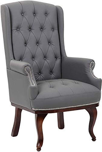 Chesterfield Style Leather High back Winged Fireside Armchair Chair Orthopedic (Grey)