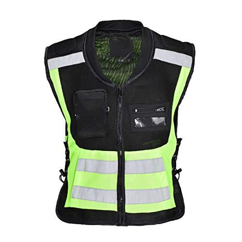 Chaleco Protector de Motocicletas Chaleco Reflectante Chaqueta de Motocicleta Chaleco de Jinete Green XL