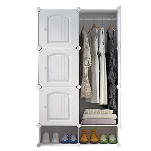 LJP Armario portátil de armario con combinación de armario modular para ahorrar espacio, organizador ideal para libros, juguetes, armario (color blanco, tamaño: A)