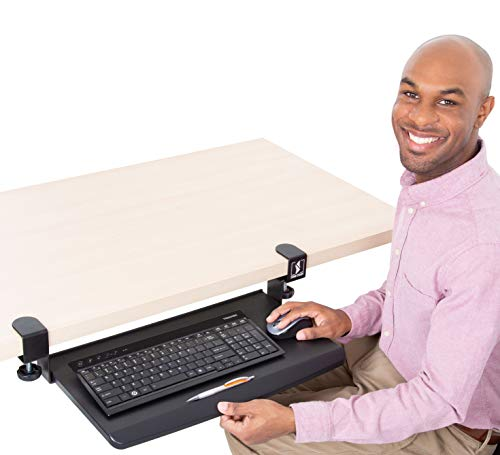 Stand Steady Clamp On Keyboard Tray | Keyboard Shelf - Small Size - Easy Install - No Need to Drill into Desk! Retractable to Slide Under Desktop | Great for Home or Office!
