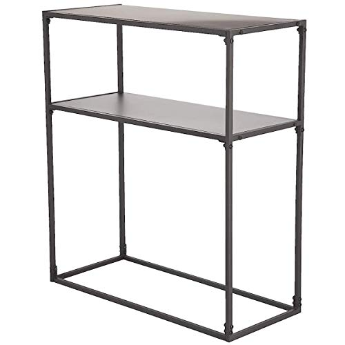 Clas Ohlson  Console Table for Hallway or Living Room - 80 x 70 x 30 cm, Black Metal, Slim Modern Scandi Style, 2 Tier Display Unit Table