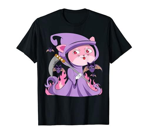 Kawaii - Gato de bruja gtico pastel con lindo disfraz de segador espeluznante Camiseta