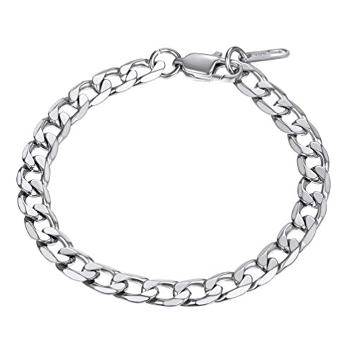 PROSTEEL Fashion Gift Smooth Curb Mens Chain Boys Silver Tone 316L Stainless Steel Bracelet Personalized Jewelry