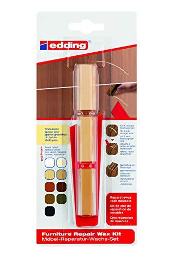 edding 4-8901-1-4609 Möbel-Reparatur-Wachs-Set - 3 mischbare Farben - fichte-kiefer - Zum Entfernen von Kratzern und Schrammen auf Möbeln und Holz. (Holzkitt / Holzspachtelmasse / Holzfüller)