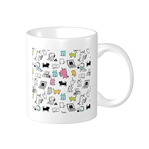 Taza de café de cerámica impresa con diseño de dinosaurios de gatos, 11 onzas
