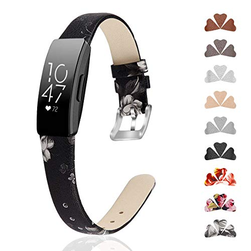 GVFM Band Compatible with Fitbit Inspire/Inspire HR Band, Genuine Leather Slim Soft Strap Wristbands Accessories Replacement for Fitbit Inspire Fitness Tracker S(5.5