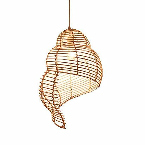 Aozu River Snail Chandelier Lámpara de Techo de bambú Moderna Sudeste asiático Hecho a Mano Mimbre Estilo ratán Lámparas Colgantes Tonos de Color de bambú E27 Altura Ajustable Cafe Comedor Balcón
